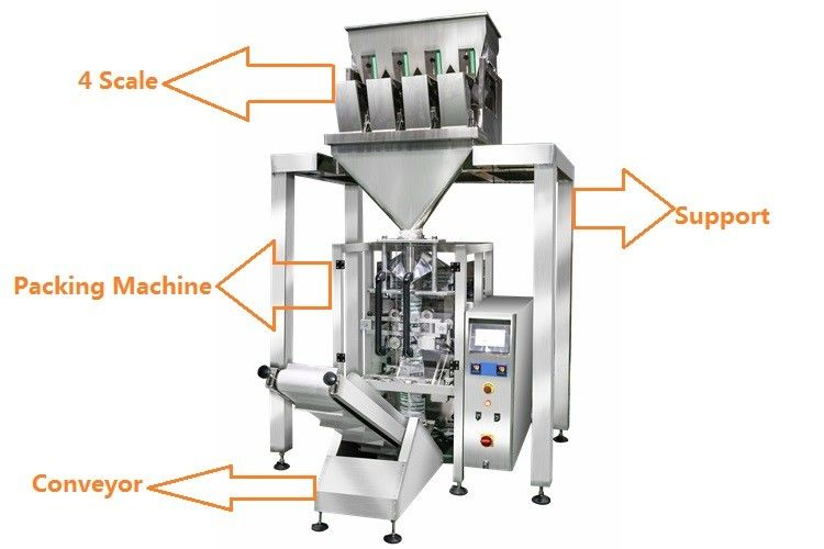1KG Sugar / 1KG Rice Grain Packing Machine With 4 Linear Weigher